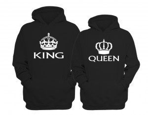 "BLUZY DLA PAR z kapturem ""QUEEN & KING"""