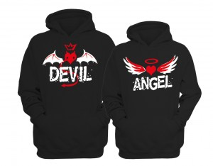BLUZY DLA PAR z kapturem  ANGEL & DEVIL
